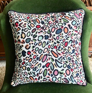 Multi-Coloured Leopard Print Velvet Backed Cushions