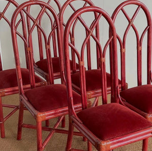 Six Vintage Bamboo Red Chairs With High Back and Red Velvet Seat Pad