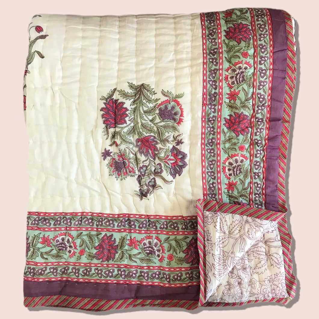 Hand Block Printed Indian Bedspread - BELLA