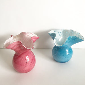 Pair of Vintage Handkerchief Frill Glass Bud Vases
