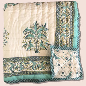Hand Block Printed Indian Bedspread - CAMILLE