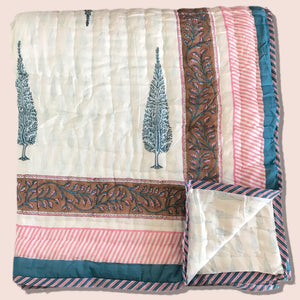 Hand Block Printed Indian Bedspread - COCO