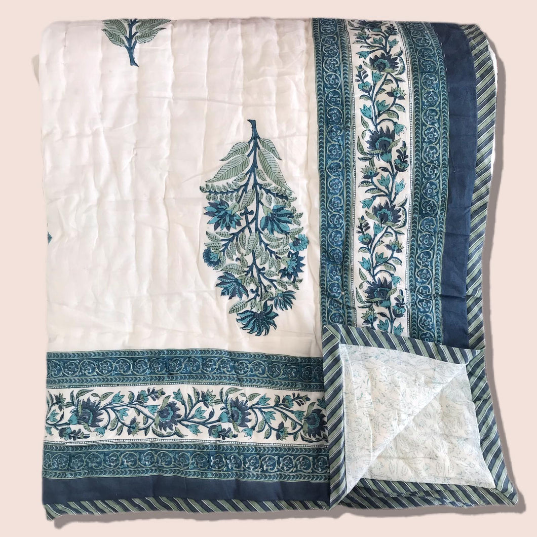 Hand Block Printed Indian Bedspread - HARRIET