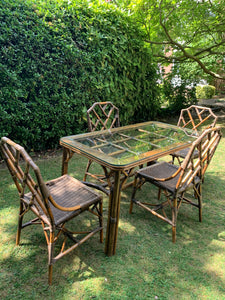 Vintage Bamboo Chippendale Chairs and Glass-top Table