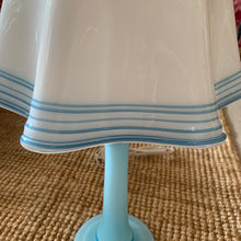 Load image into Gallery viewer, Vintage Mid-Century Milk Glass Handkerchief Lamp with Blue Glass detail