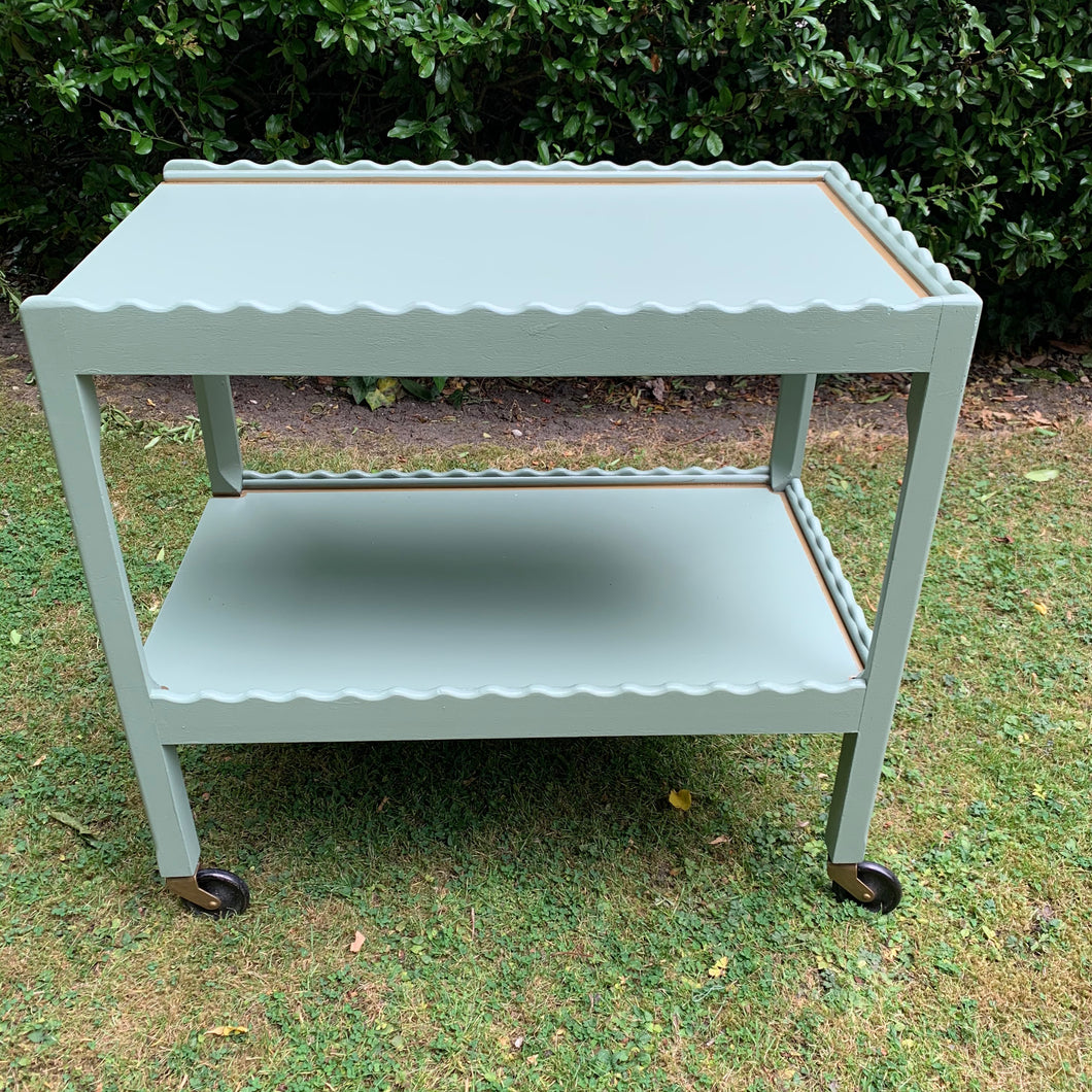 Two-Tier Vintage Scalloped Drinks Trolley