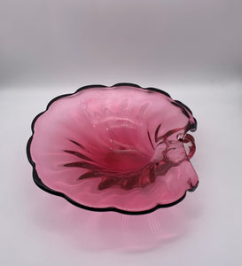 Mid Century Cranberry Murano Glass Shell Dish