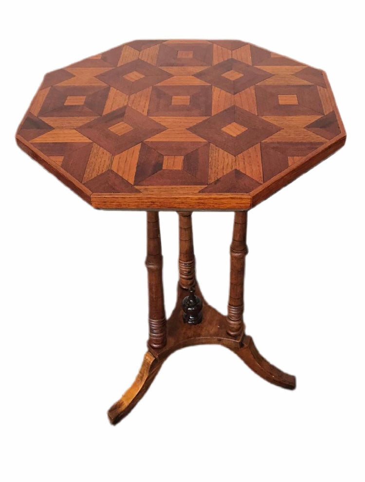 Vintage Octagonal Geometric Two Toned Occasional Table