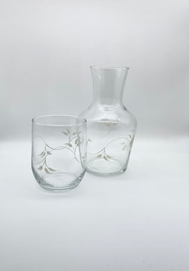 Cream Vine Carafe and Glass