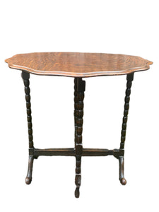Antique Scolloped Foldable Table With Bobbin Style Legs