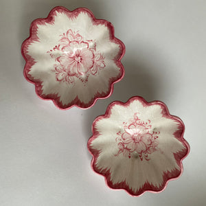 Pair of Hand Painted Italian Pink Scalloped Bowls