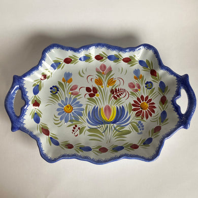 Vintage Hand Painted Quimper Faience Floral Serving Plate