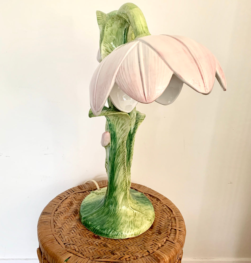 French 1970s Ceramic Hand-Painted Flower Lamp
