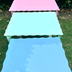 Trio of Lacquered Scalloped Nesting Tables