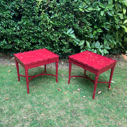 Pair of Hand Lacquered Antique Scalloped Tables