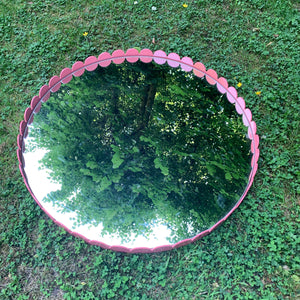 Vintage Scalloped Mirror - Lacquered in Pink