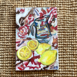 Impressionist Style Lemon and Jug Still Life Painting