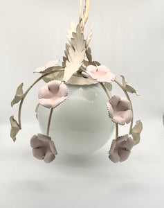 Vintage French Pink Flower Tole Pendant Light with Milk Glass Globe