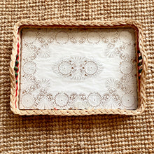 Load image into Gallery viewer, Vintage Wicker Tray with Doily Base