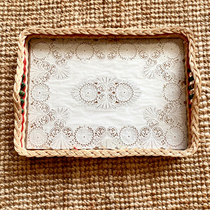 Vintage Wicker Tray with Doily Base