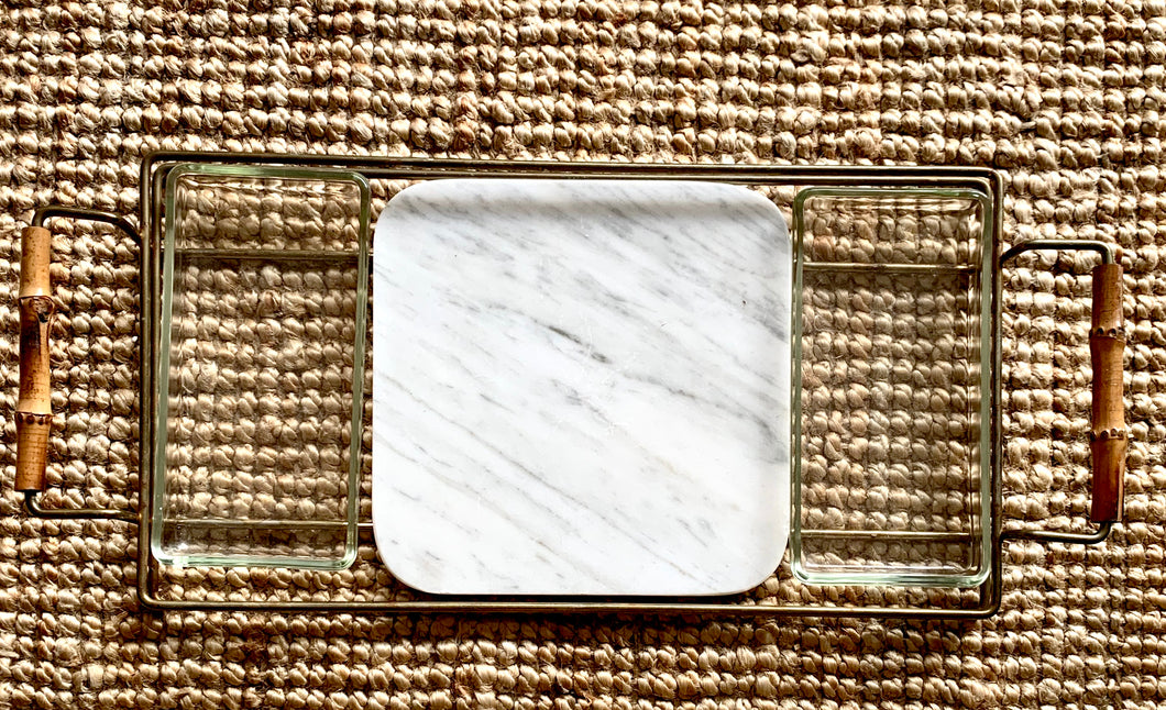 1970s Italian Brass Glass and Marble Charcuterie Tray