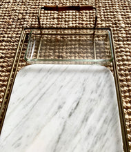 Load image into Gallery viewer, 1970s Italian Brass Glass and Marble Charcuterie Tray