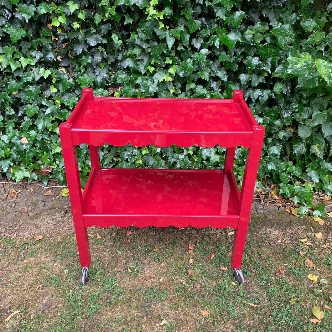 Newly Hand Lacquered Antique British Scallop Edged Trolley