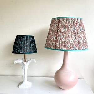 Red and Green Garden Handmade Gathered Silk-lined Lampshades