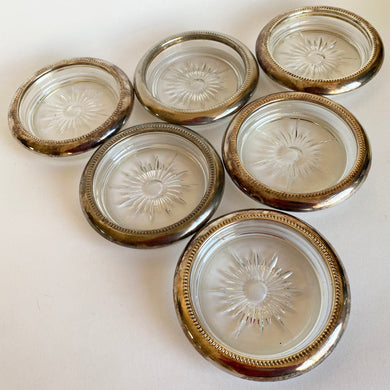 Six Vintage Italian Silver Plated and Cut Glass Coasters