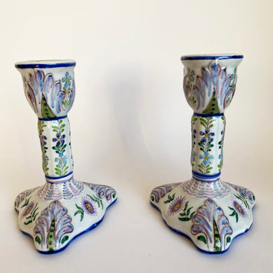 Pair of Antique Hand Painted French Faience Candlesticks