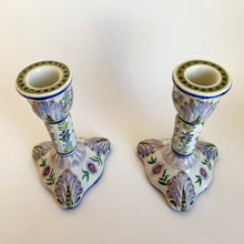 Load image into Gallery viewer, Pair of Antique Hand Painted French Faience Candlesticks