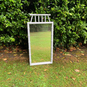 Grey Painted Bamboo Mirror