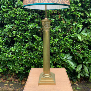 Vintage Tall Heavy Brass Column Table Lamp