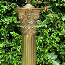Load image into Gallery viewer, Vintage Tall Heavy Brass Column Table Lamp