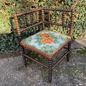Antique Corner Bobbin Chair with Needlepointed Tapestry Seat