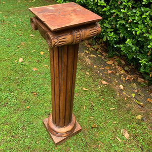 Heavy Mahogany Hand Carved Tall Column Plinth