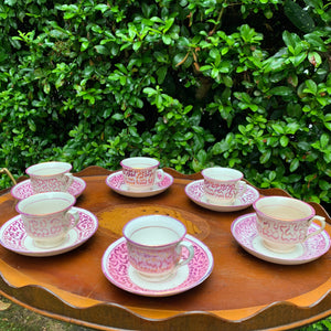 Hand Painted Pink Edwardian Lustreware Coffee Set for Six