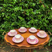 Load image into Gallery viewer, Hand Painted Pink Edwardian Lustreware Coffee Set for Six