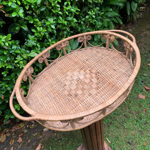 1970s Wicker Rattan Tray