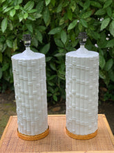 Load image into Gallery viewer, Pair of Tall White Ceramic Bamboo Lamp Bases