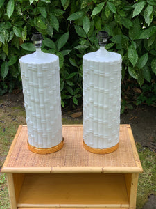 Pair of Tall White Ceramic Bamboo Lamp Bases