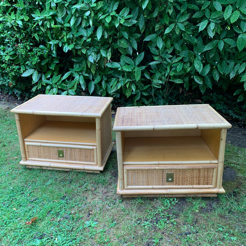 Pair of 1970s Italian Rattan Wicker Bamboo Bedside Tables