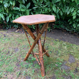 Antique Hexagonal Victorian Bamboo and Seagrass Table