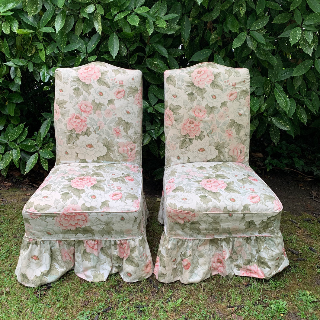 Pair of Vintage Floral Skirted Slipper Cocktail Chairs