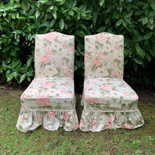 Load image into Gallery viewer, Pair of Vintage Floral Skirted Slipper Cocktail Chairs