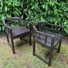 Load image into Gallery viewer, Pair of Heavy Ebonised Unusual Design Wave Detail Chairs