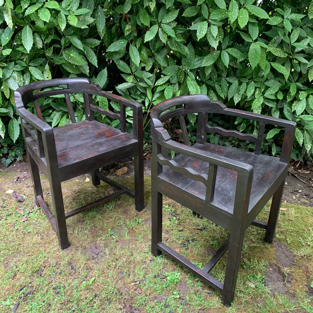 Pair of Heavy Ebonised Unusual Design Wave Detail Chairs