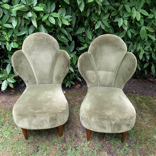 Pair of Antique Green Velvet Art Deco Cocktail Chairs