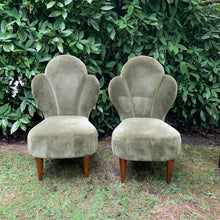 Load image into Gallery viewer, Pair of Antique Green Velvet Art Deco Cocktail Chairs