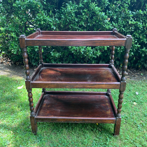 Vintage Three-Tiered Bobbin Style Drinks Trolley